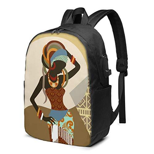XCNGG Mochila Liviana de Viaje Estampada para Mujer de Arte Africano con Puerto de Carga USB y Puerto para Auriculares