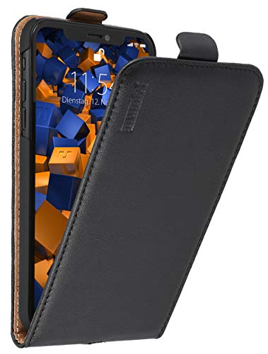 mumbi Echt Leder Flip Hülle kompatibel mit iPhone XR Hülle Leder Tasche Hülle Wallet, schwarz