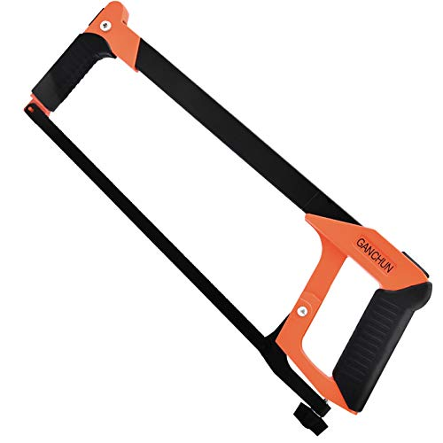 Hand Saw, 12 inch Hacksaw Frame Heavy Duty Adjustable Hacksaw for Steel Pipe Cutting, PVC, Carpentry, Woodworking