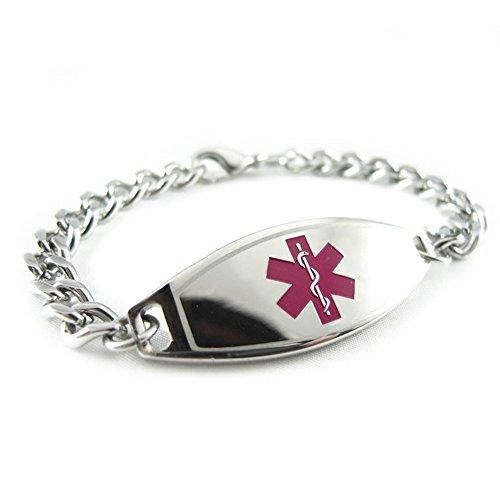 Pre-Engraved & Customized Alzheimer's Medical ID Bracelet, Purple
