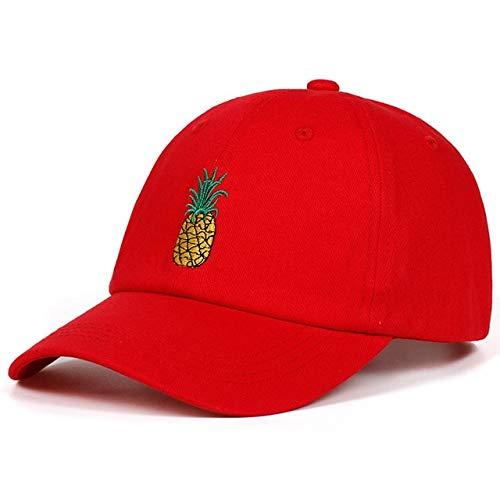 Ananas Stickerei Baseball Cap Baumwolle Hipster Hut Obst Ananas Papa Hut Hip Hop Baumwolle Snapback Cap Hüte-Red