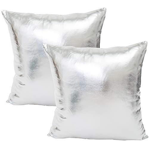 JOTOM Einfarbig Kissenbezug Glitter Kissenhülle Moderner Wurfkissen Schlafzimmer Sofakissen Kissenabdeckung 45 x 45cm, 2er Set (Glitter Silver)