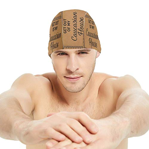 Gebrb Get out of My Home Lycra Swim cap Comfortable Fit Cuffie da Nuoto,Cuffie da Bagno,s Bathing And Shower Hair Cover Ear Protection for Long Hair & Thick Hair & Curly Hair, Easy to Put On And off