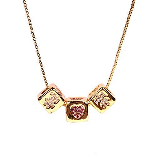 Collar para niños y niñasRubik's Cube Diamond Love Dice Colgante Collar de pareja