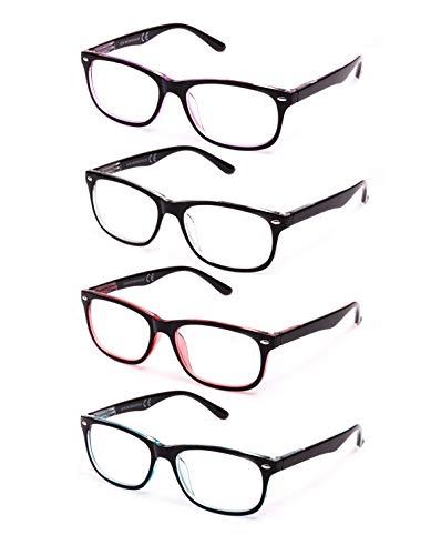 Pack de 4 Gafas de Lectura Vista Cansada Presbicia, Gafas de Hombre y Mujer Unisex con Montura de Pasta, Bisagras de Resorte, Para Leer, Ver de Cerca (+1.5 (803))