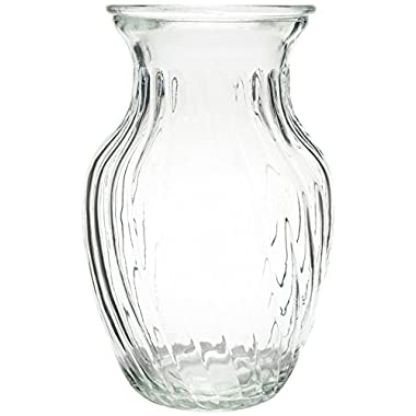 Floral Supply Online Flower Bunch Glass Vase for decorative centerpieces in home or office. 8  Swirl Style.
