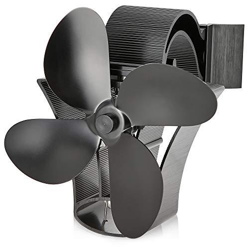 NETTA Magnetischer Ofenventilator mit 4 Flügeln, wärmebetrieben, für Holzbrenner, Kamin, mit verstellbarem Band