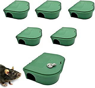 Exterminators Choice Green Bait Boxes | Includes Six Bait Boxes and One Key | Heavy Duty Box to Control Rats, Mice and Oth...