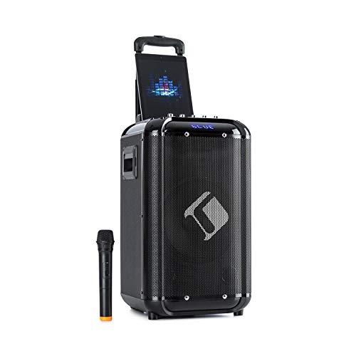 """auna Moving 100 Mobile 10"""" PA-Anlage / Karaokeanlage, XMR-Bass-Technology: 10"""" (25,4 cm) Woofer / 3"""" Tweeter / 50 W Nennleistung / 150 W max., Smartphonehalterung, kabelloses UHF-Mikrofon,schwarz"""