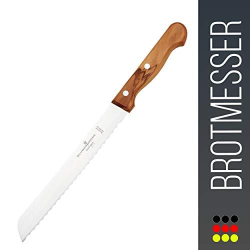"""Schwertkrone Brotmesser Wellenschliff Olivenholz aus Solingen Klingenlänge 20 cm 8\"""" rostfrei/Brotsäge…"""