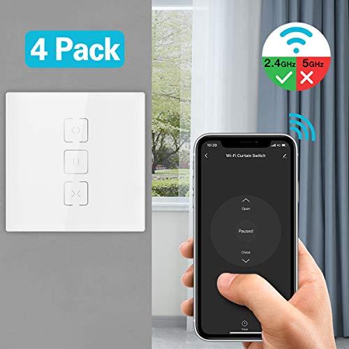 MoKo WLAN Smart Rolladen Zeitschaltuhr, WiFi Rolladenschalter Vorhang Jalousien Schalter mit Touch Panel, Kompatibel mit Alexa Echo Google Home, APP Fernbedienung und Timer Funktion - 4Pcs