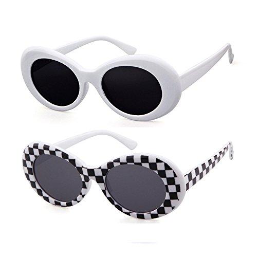 ADEWU La influencia de los anteojos de sol Kurt Cobain oval para para 2pcs - Blanco y cuadrícula