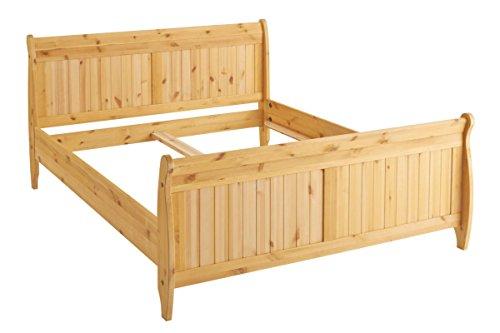 Loft24 Bett 180x200 cm Landhaus Doppelbett Bettgestell Bettrahmen Holzbett Kiefer Massivholz Natur gebeizt geölt