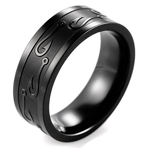 SHARDON Men's 8mm Black Titanium Ring with Engraved Fishhook Size 8.5