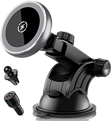 Cargador inalámbrico magnético para automóvil Soporte para automóvil con salida de aire para salpicadero de carga rápida de 15 W, compatible con iPhone 13/13 Pro / 13 Pro Max / 13 Mini / 12/12 Pro /