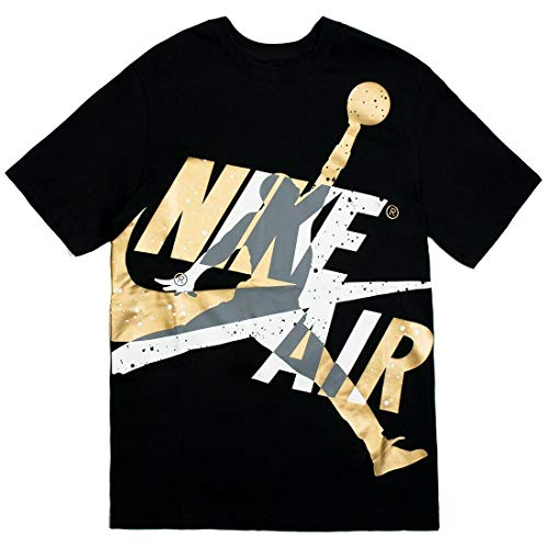 Nike Jordan Jumpman Classics HBR T-Shirt CT6751 Black Gold (Small)