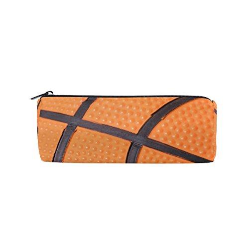 KUWT Pencil Bag Sport Ball Basketball, Pencil Case Pen Zipper Bag Pouch Holder Makeup Brush Bag for School Work Office