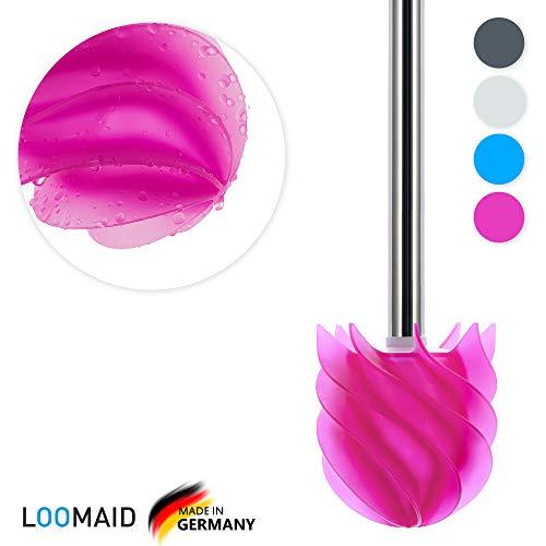 LOOMAID Silikon WC Bürste mit Lotuseffekt – Made in Germany – Ersatz Toilettenbürste Silikon, Klobürste Silikon Edelstahl (Pink)