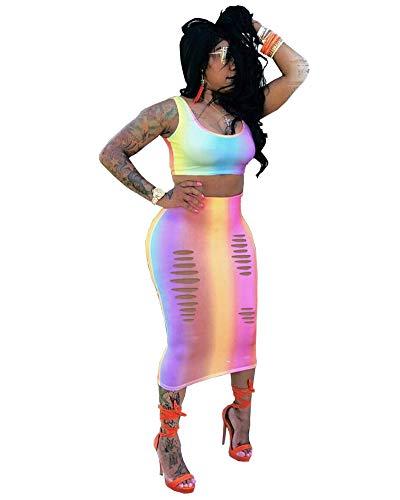 Women Casual Rainbow Tie Dye Dress Tank Crop Tops Long Midi Pencil Dresses 2 Piece Outfits Skirt Sets, Gl6026-purple, XX-Large