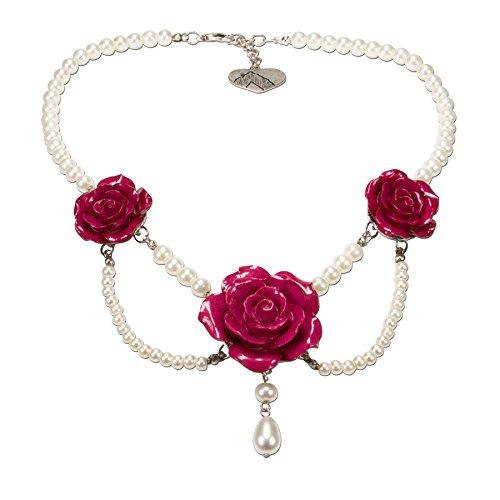 Alpenflüstern Perlen-Trachtenkette Schneewittchen mit Metall-Blüten - Damen-Trachtenschmuck Dirndlkette pink-Fuchsia DHK141