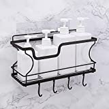 Shower Caddy Basket Shelf with Hooks for Sponge Shampoo Holder No Drilling Adhesive Wall Mounted Multi-Function Stainless Steel Organizer Rack for Bathroom Pantry Kitchen Spice Storage and Organization (1 Tier, Black)