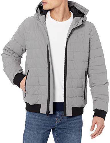 DKNY Herren Quilted Performance Hooded Bomber Jacket Alternativer Daunenmantel, Steinmattes Stretchmaterial, Small
