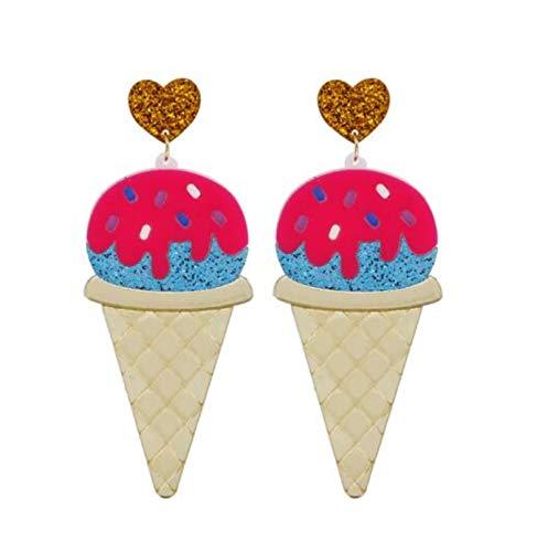 QIN Schöne Eiscreme Big Drop Ohrringe Persönlichkeit Rosa Acryl Lustiges Essen Long Dangle Ohrring Für Frauen Modeschmuck