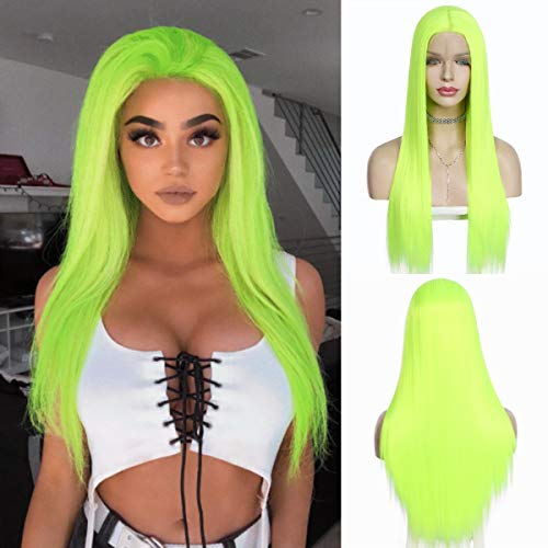 QD-Udreamy Neon Green Silky Straight Lace Front Wigs Natural Looking Wig Replacement Wig Heat Resistant Synthetic Hair Wigs for Women