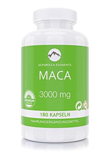 Capsules de Maca à DOSAGE ÉLEVÉ 3000 mg - 180 Gélules d'Extrait de Racine - MADE IN GERMANY