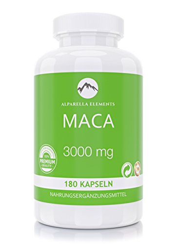 Maca 3000 Wurzel Extrakt Kapseln von Alparella Elements | 180 Kapseln | 3000 mg hochdosiert | Made in Germany