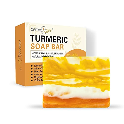 Organic TURMERIC Soap Bar | Pure Natural Handcrafted Skincare, Face & Body Cleanser | Blemish Control, Reduce Acne, Radiant Skin, Evens Tone, Fades Scars, Sun Damage, Age Spots - 100gms.