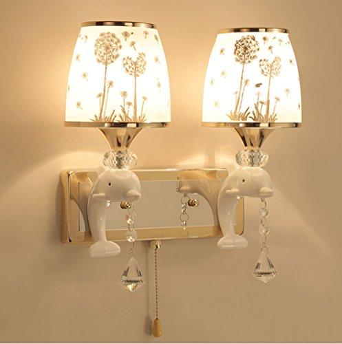WENMW creatieve persoonlijkheid Dolphin LED wandlamp dubbele (2 lichtbron) wandlamp slaapkamer nachtkastje kinderkamer wandlamp handvat kabel