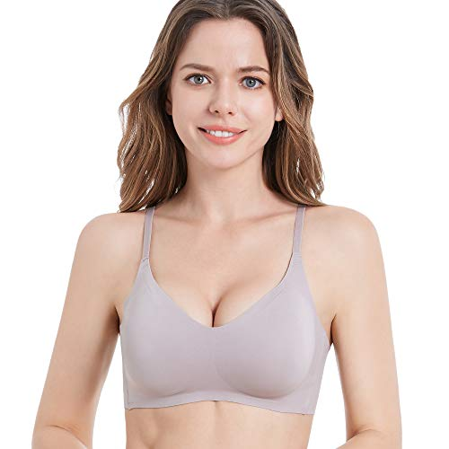 PRETTYWELL Comfortable Bras, Seamless Wire Free Everyday Bras for A to D Cups, V Neck Soft and Light Basic Bras for Women (1-Grey-Hook-Back, M 32 A 32B 32C 32D 34A 34B)