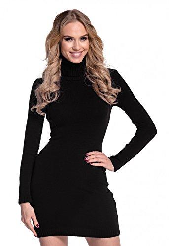 Glamour Empire. Damen Strickkleid Minikleid mit Stehkragen Rollkragen. 888 (Schwarz, 36-40, ONE Size)