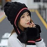 kyprx Sombreros para el Sol para Mujer Gafas de Sol para Mujer Conjunto de Gorro de Piel Caliente Guantes Grandes y cálidos Conjunto de Gorro de Mujer Sombrero Grueso Sombrero de Gorra para Mujer