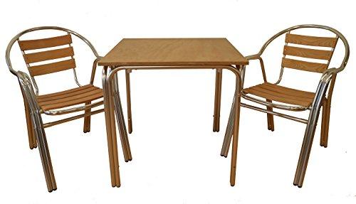 EUROSILLA Base de Table Aluminium anodisé, Bois, Marron, 70 x 70 x 75 cm