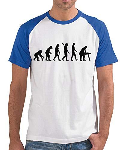 latostadora - Camiseta Carpintero Evolucion para Hombre Azul Royal S