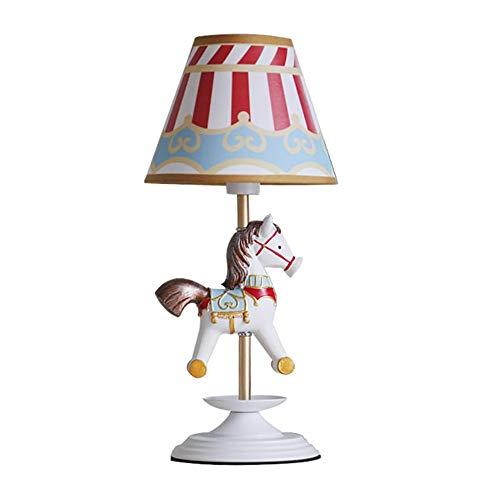 SXNYLY Dormitorio Vestir tabla de la cama de decoración de interior LED lámpara de mesa de noche nórdica carrusel niños de la lámpara de la lámpara creativa de la iluminación caliente de dibujos anima