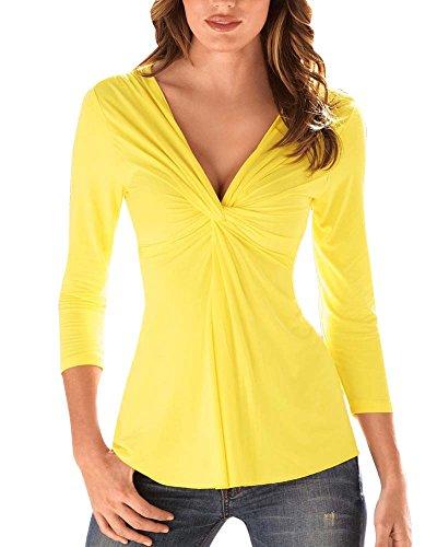 SaiDeng Donna Camicetta Maglia Maglietta Manica Lunga Casual Elegante V-Collo T-Shirt Giallo M