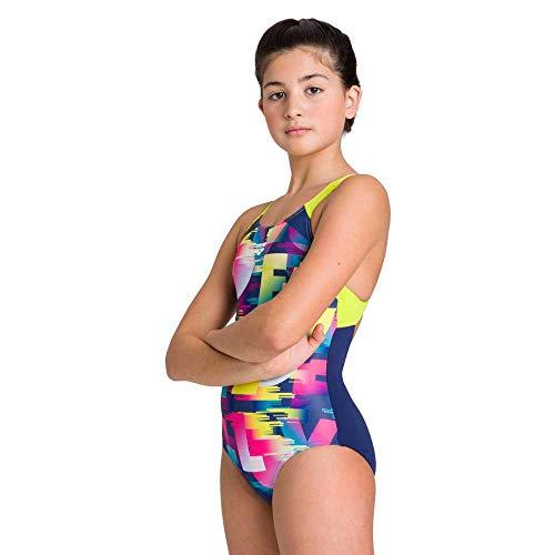 ARENA Mädchen Sport Badeanzug Swim Love, Navy-Soft Green, 128