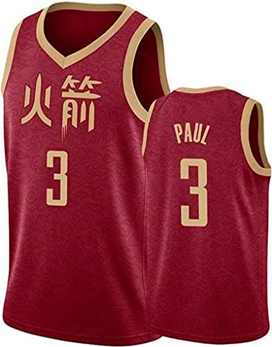 Lajx Jersey de baloncesto para hombre de secado rápido Paul Sports # 3 rojo Jersey