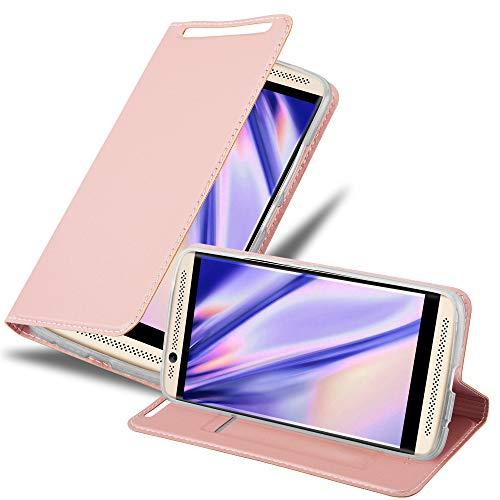 Cadorabo Hülle für ZTE Axon 7 in Classy ROSÉ Gold - Handyhülle mit Magnetverschluss, Standfunktion & Kartenfach - Hülle Cover Schutzhülle Etui Tasche Book Klapp Style