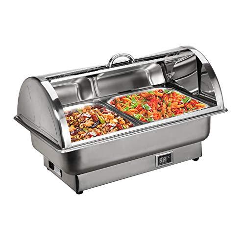 Aprilhp Chafing Dish Edelstahl Warmhaltebehälter Essen Speisenwärmer Wärmebehälter Rechaud für Catering, Buffet und Party, Temperaturanzeige Elektrische Heizung