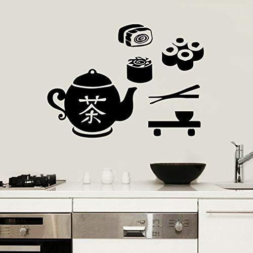 Etiqueta de sushi etiqueta de restaurante de comida de té póster etiqueta de la pared de vinilo Pegatina mural decorativo pegatina de sushi ocio entretenimiento etiqueta de vidrio de café 30x41 cm