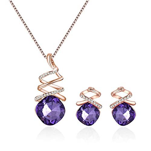UCJHXFR Simple temperamento coreano moda diamante pequeño frescor cuadrado clavícula collar pendientes conjunto nupcial collar nupcial