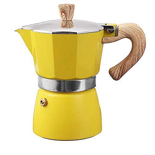 MYYINGELE 150ml Aluminium Espressokocher, 3 Cup Kaffeekocher, Espresso Maker, Coffee Maker für Home Office Kaffeekanne, Yellow