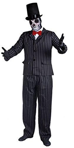 0916PE7E08G Disfraz de Calavera Negro con una máscara de Calavera con diseño de Calavera y Pajarita roja + Sombrero Alto de Forma para Adulto. Ideal para Fiestas de Halloween.