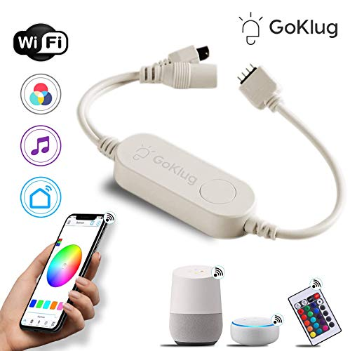 WLAN Controller LED Strip Alexa von GoKlug, Sync mit Musik, 16 Mio Farben steuerbar via App, Amazon Alexa, Google Home, dimmbar Wireless Smart RGB LED Strip Leiste Band Beleuchtung Lichtband