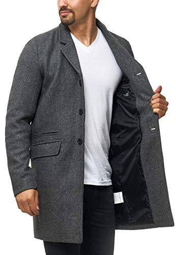 Indicode Herren Ilchester Wollmantel mit Stehkragen einfarbig, melliert oder im Tweed Karo-Muster | Herrenmantel Wintermantel Lange Übergangsjacke Winterjacke Mantel für Männer Lt Grey Mix L