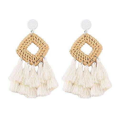Sunmoon Bohemian Rattan Tassel Earrings for Women Lightweight Boho Jewelry Handmade Weaving Geometric Long Drop Dangle Statement Earrings